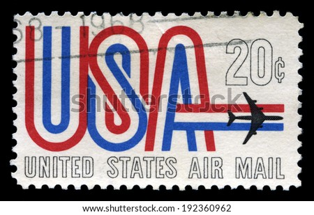 UNITED STATES - CIRCA 1968: A United States Airmail Postage Stamp, circa 1968. - stock photo