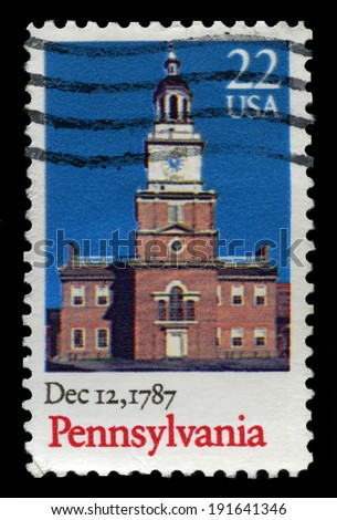 UNITED STATES - CIRCA 1987: A United States Postage Stamp celebrating the 200th Anniversary of the statehood of Pennsylvania, circa 1987. - stock photo