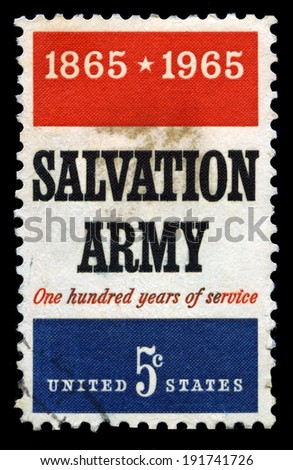 UNITED STATES - CIRCA 1965: A United States Postage Stamp celebrating the 100th Birthday of the Salvation Army, circa 1965. - stock photo
