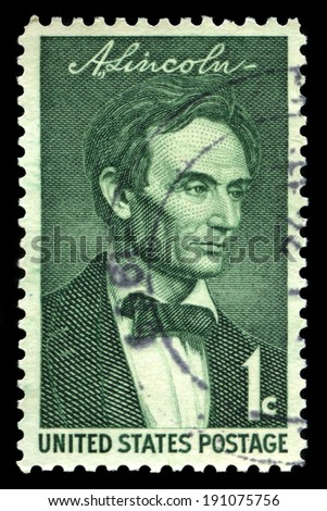 UNITED STATES, CIRCA 1958: A United States Postage Stamp depicting an image of Abraham Lincoln - the 16th President of the United States, circa 1958.