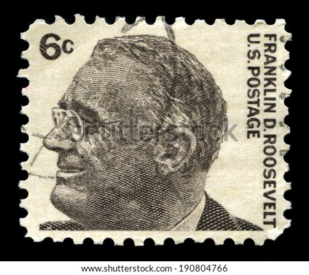 UNITED STATES, CIRCA 1966: A United States Postage Stamp portraying an image of former US President Franklin D Roosevelt, circa 1966. - stock photo