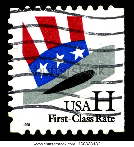 UNITED STATES - CIRCA 1998: A used postage stamp from the United States of America, featuring an illustration of Uncle Sam's top hat, circa 1998.