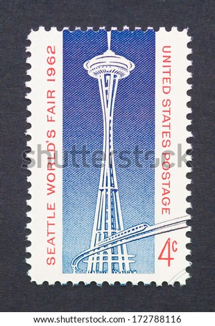 UNITED STATES - CIRCA 1962: postage stamp printed in USA showing an image of Space Needle tower commemorative of Seattle World�s Fair, circa 1962.