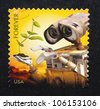 UNITED STATES - CIRCA 2011: postage stamp printed in USA showing an image of Wall-E movie, circa 2011. - stock photo