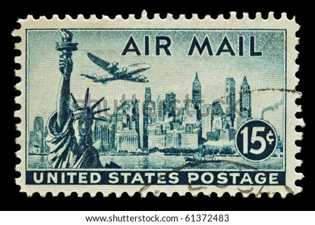 UNITED STATES - CIRCA 1950's : A stamp printed in United States. Statue of Liberty, New York Skyline airmail stamp. United States - CIRCA 1950's - stock photo