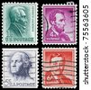 UNITED STATES - CIRCA 1950: Set of 4 postage stamps printed in the United States features portraits of Presidents of the United States, circa 1950 - stock photo
