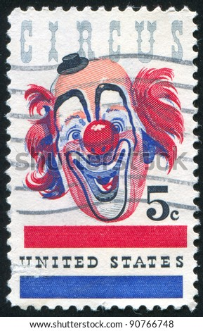 UNITED STATES - CIRCA 1966: stamp printed by United States of America, shows clown, circa 1966