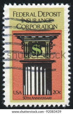 UNITED STATES - CIRCA 1984: stamp printed by United States of America, shows symbol of dollar and pillar, circa 1984 - stock photo