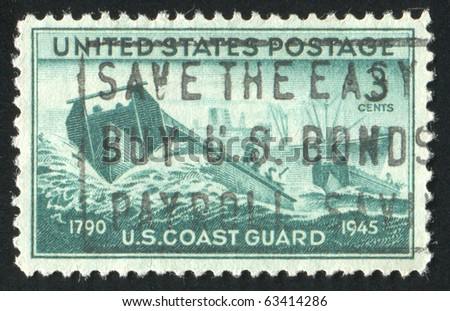 UNITED STATES - CIRCA 1945: stamp printed by United states, shows Coast Guard Landing Craft and Supply Ship, circa 1945 - stock photo