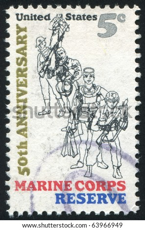 UNITED STATES - CIRCA 1966: Stamp printed by United states, shows Marine Corps Reserve, circa 1966 - stock photo