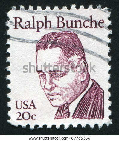 UNITED STATES - CIRCA 1980: stamp printed by United states, shows Ralph Bunche, circa 1980
