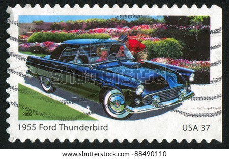 UNITED STATES - CIRCA 2005: stamp printed by United states, shows Sporty Cars, Ford Thunderbird, circa 2005 - stock photo