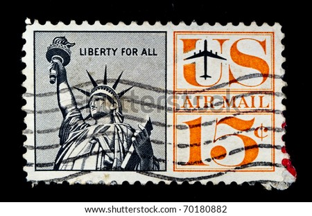 UNITED STATES - CIRCA 1959: stamp printed by United states, Statue of Liberty, circa 1959