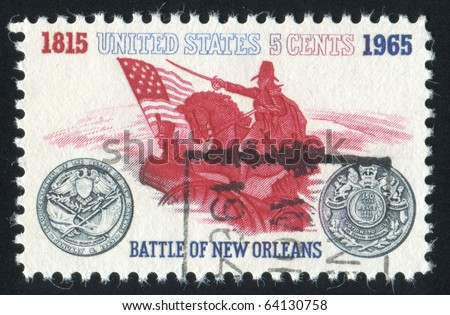 UNITED STATES - CIRCA 1965: stamp printed in United states, shows General Andrew Jackson and Sesquicentennial Medal, circa 1965