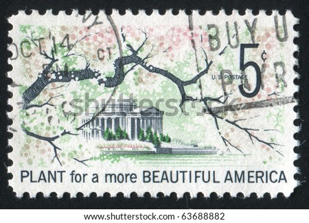 UNITED STATES - CIRCA 1966: stamp printed in United states, shows Jefferson Memorial, circa 1966 - stock photo