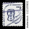 "UNITED STATES - CIRCA 1975: stamp printed in United states (USA), shows Inkwell and Quill, with inscription ""The ability to Write � a root of democracy"", from the series ""Americana issue"" circa 1975 - stock photo"