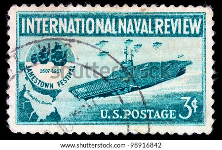 UNITED STATES - CIRCA 1957: stamp printed in USA shows Aircraft Carrier and Jamestown Festival Emblem, circa 1957