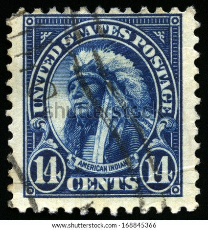 UNITED STATES - CIRCA 1922: Vintage US Postage Stamp portraying an illustration of an 'American Indian', circa 1922. - stock photo