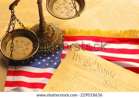 United States Constitution, scales of justice and American flag