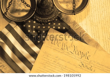 United States Constitution, scales of justice and flag - stock photo