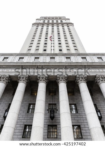 United States Court House. Courthouse facade with columns, lower Manhattan, New York - stock photo