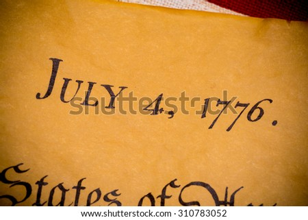 United States Declaration of Independence with vintage flag.  July 4th. - stock photo