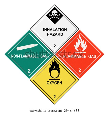 United States Department of Transportation class 2 gases warning labels isolated on white - stock photo