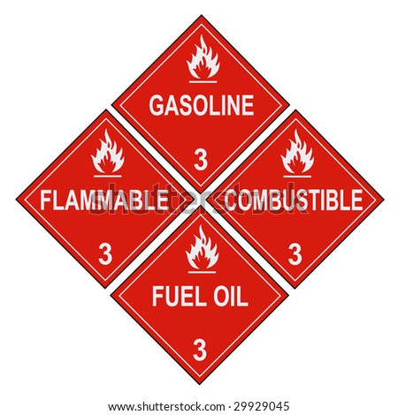 United States Department of Transportation flammable and combustible liquids warning placards isolated on white - stock photo