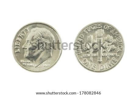 United States dime on white background.. - stock photo