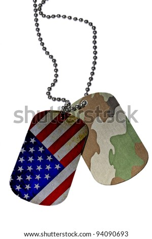 United States flag and Camouflage texture on ID tag - stock photo