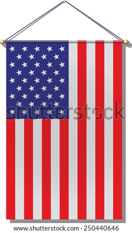 United States Flag hanging by rope. - stock photo