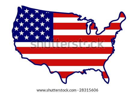 United States flag in the shape of a USA map.