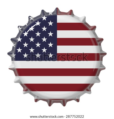 United States flag on bottle cap. 3D rendering - stock photo