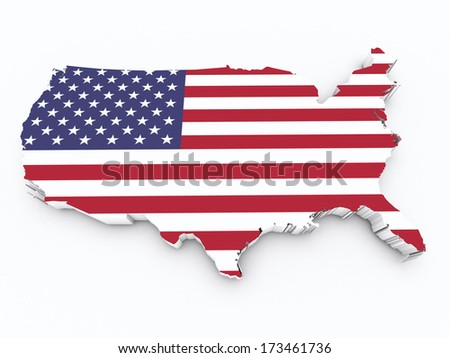 United States flag on 3d map - stock photo