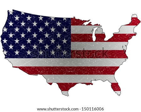united states grunge map and flag against white background, abstract art illustration - stock photo