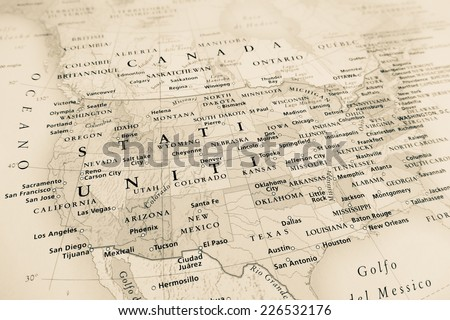 United States map (Geographical view altered on colors/perspective and focus on the edge. Names can be partial or incomplete) - stock photo
