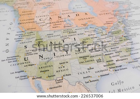 United States Map Geographical View Altered On Colors Perspective And Focus On The Edge