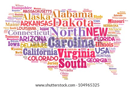 United States Map Words Cloud Major Stock Photo - United states map major cities