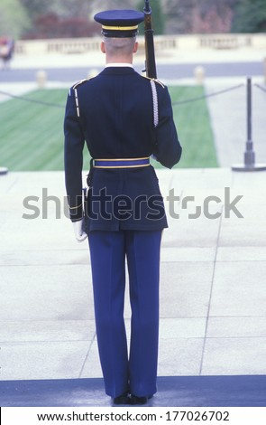 United States Marine armed guard, Arlington National Cemetery, Washington, D.C. - stock photo