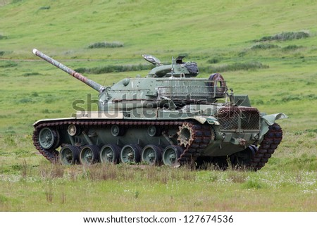 United States Marines Patton Tank - stock photo