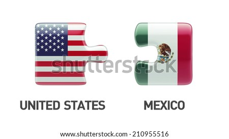 United States Mexico High Resolution Puzzle Concept - stock photo