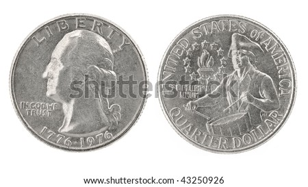 United States money. Quarter dollar coin (1776-1976). Obverse and reverse isolated over white