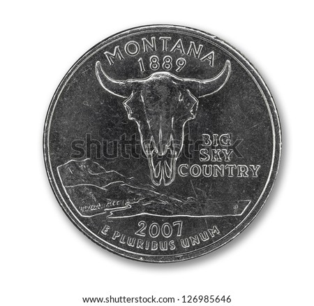 United States Montana quarter dollar coin on white with path outline - stock photo