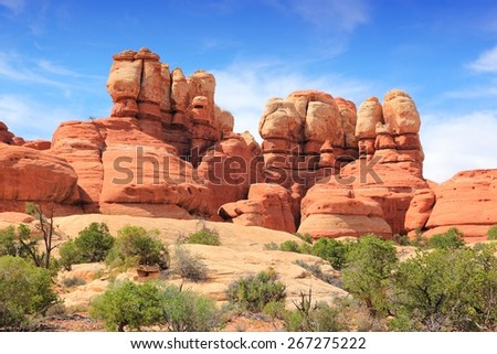 United States nature in Utah. Needles district of Canyonlands National Park. - stock photo