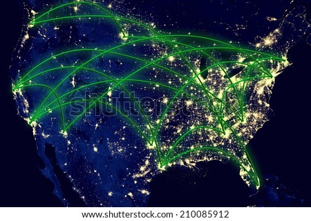 United States network night map earth from space. Elements of this image furnished by NASA. - stock photo