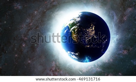 United States - North American Night - Planet Earth Globe Energy Glow - 3D Illustration (Elements of this image furnished by NASA)