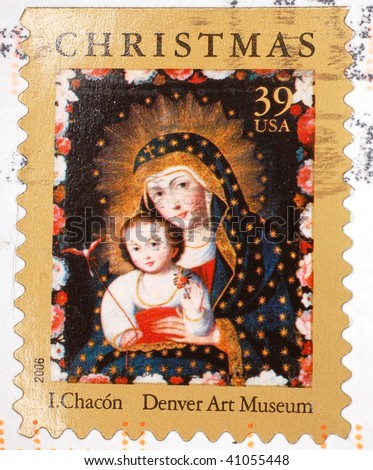 UNITED STATES OF AMERICA - 2006: A stamp printed in the United States of America shows image of a painting of Mary and baby Jesus, series, 2006
