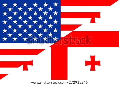 united states of america and georgia half country flag - stock photo
