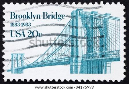 UNITED STATES OF AMERICA - CIRCA 1983: a stamp printed in the United States of America shows Brooklyn Bridge, centenary of Brooklyn Bridge, circa 1983 - stock photo