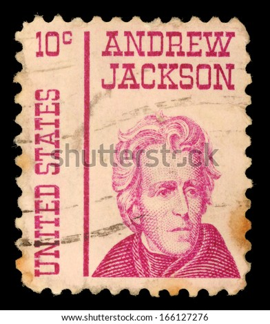 UNITED STATES OF AMERICA - CIRCA 1967: a stamp printed in the United States of America shows Andrew Jackson, 7th President of USA 1829-1837, circa 1967